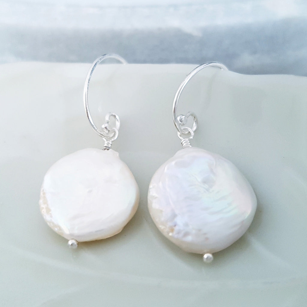 Adore Gems Collection - Sterling Silver Earrings Coin Pearl