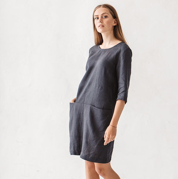 Faye Linen Minimal Dress - Soul Made Boutique