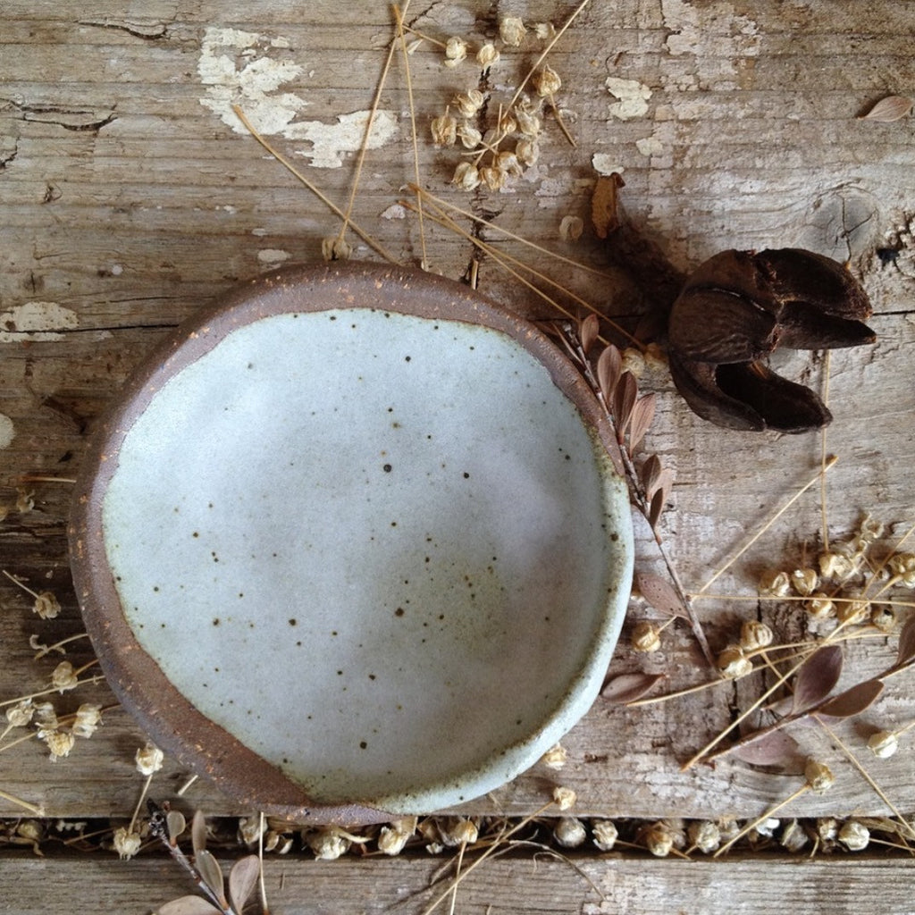Rustic Robin Egg Blue Speckled Dish
