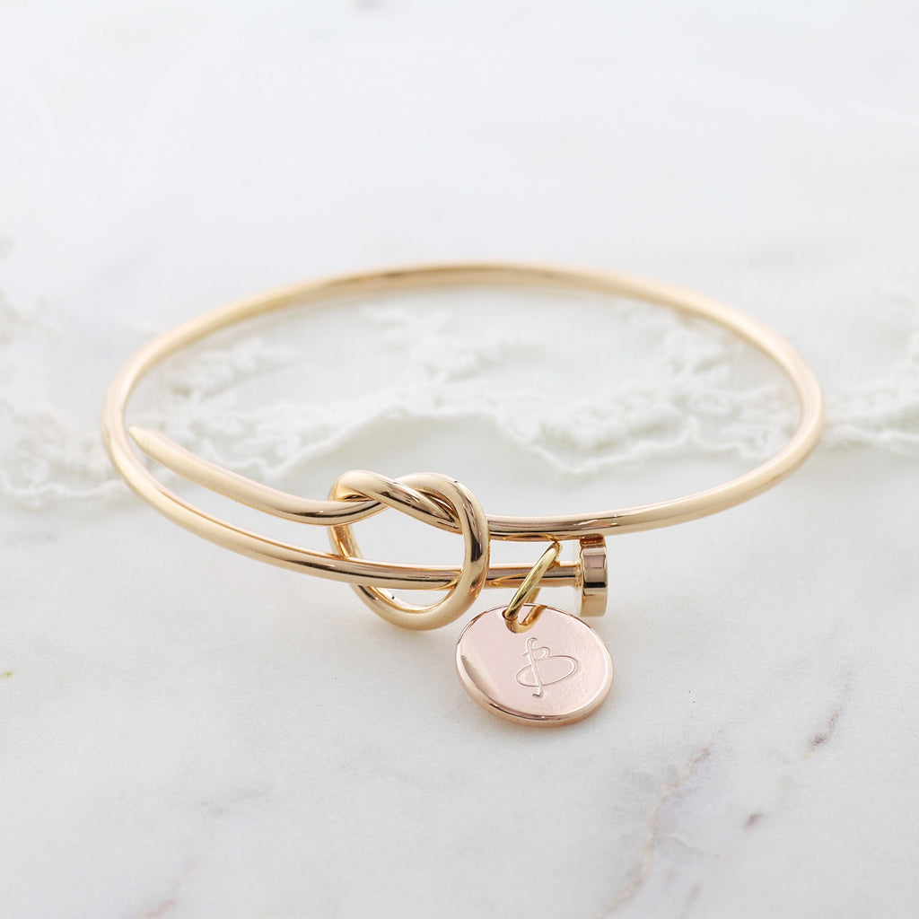 Amor Personalised Collection - Bangle Love Knot Large Disc - Soul Made Boutique