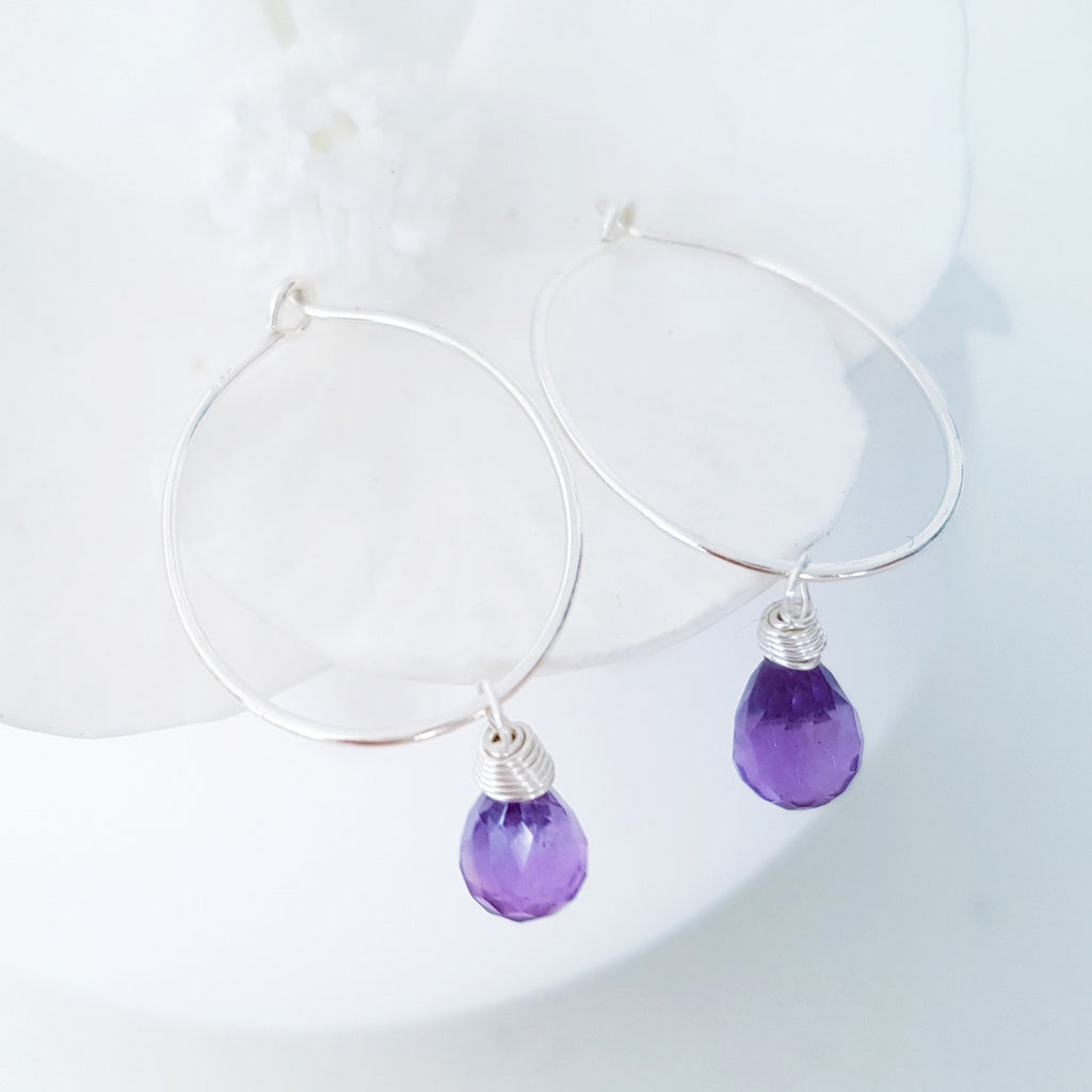 Adore Gems Collection - Sterling Silver Earrings Amethyst Faceted Teardrop