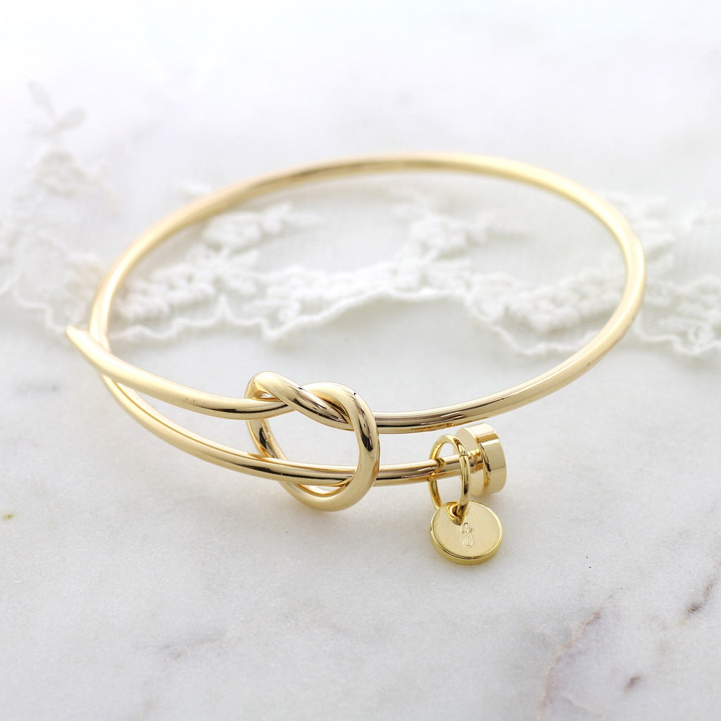 Amor Personalised Collection - Bangle Love Knot Small Disc - Soul Made Boutique