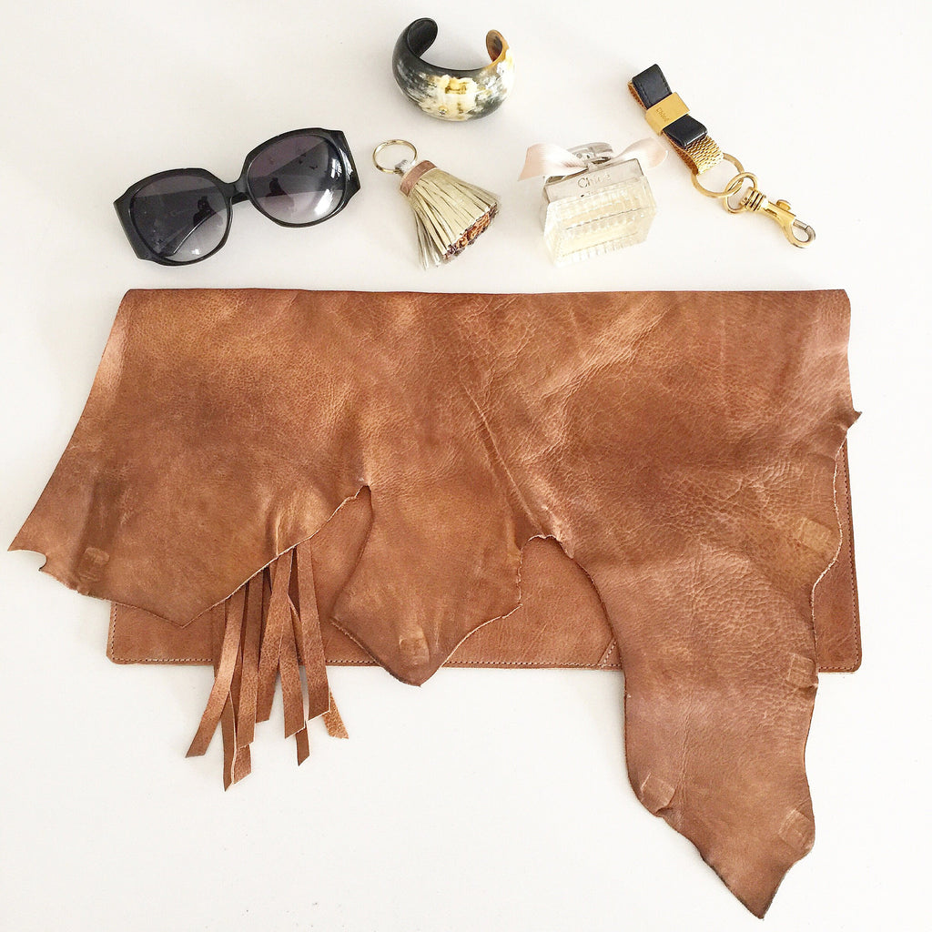 Statement Leather Hide Clutch