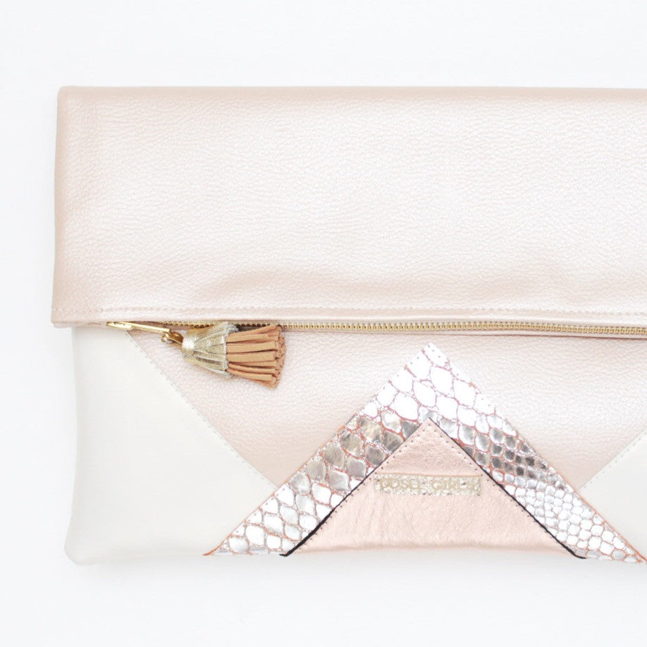 Geometric Unique Leather Accents Clutch