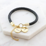 Amor Personalised Collection - Bracelet Black Leather Disc - Soul Made Boutique