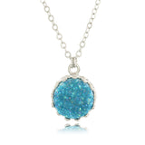 Adore Gemstone Collection - Druzy Round Pendant Necklace