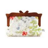 Wooden Handle Watercolor Floral Clutch