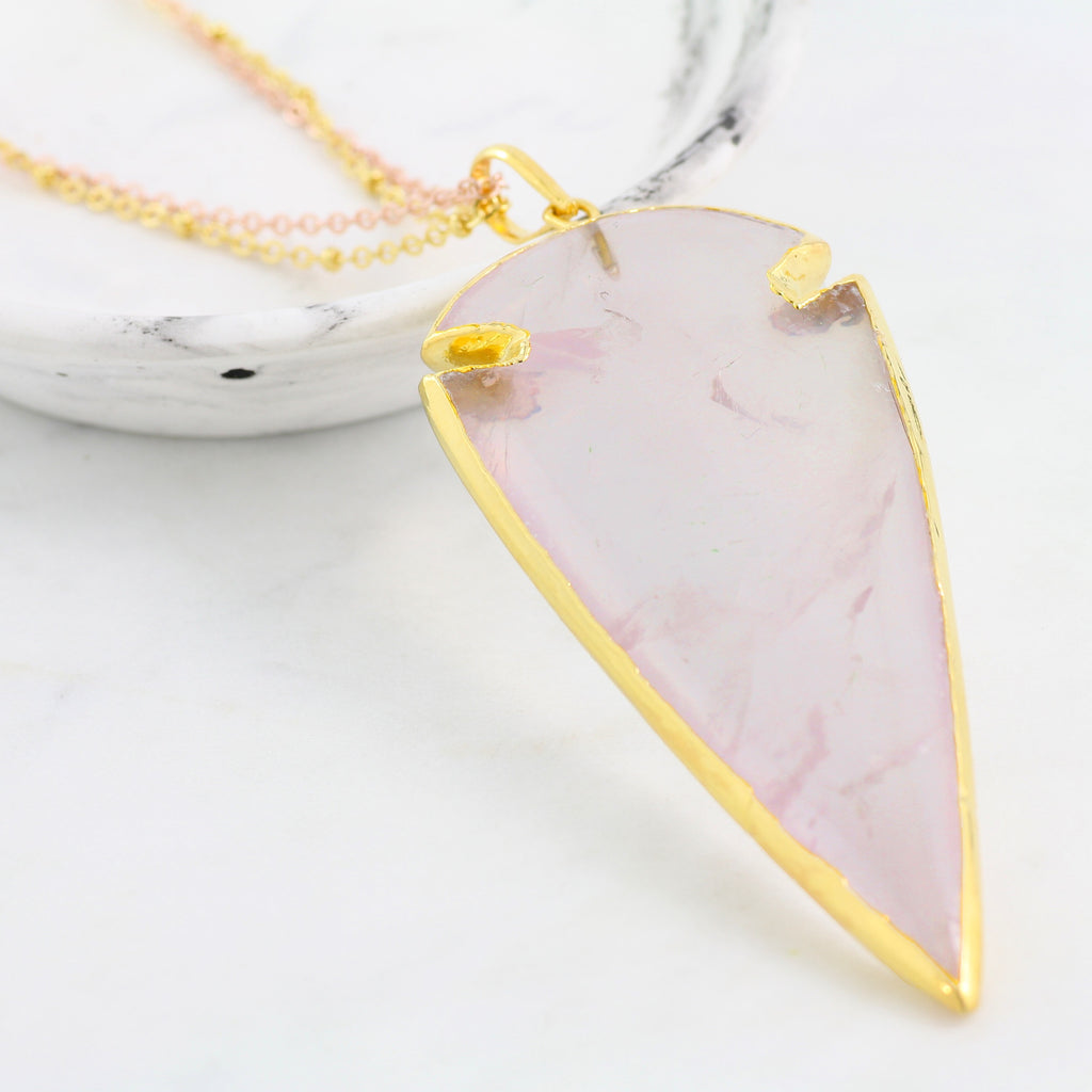 Adore Gemstone Collection - Rose Quartz Arrowhead Necklace - Soul Made Boutique