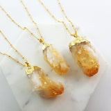 Adore Gemstone Collection - Citrine Raw Necklace - Soul Made Boutique