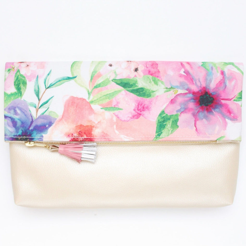 Floral Watercolor Unique Leather Accents Clutch - Soul Made Boutique