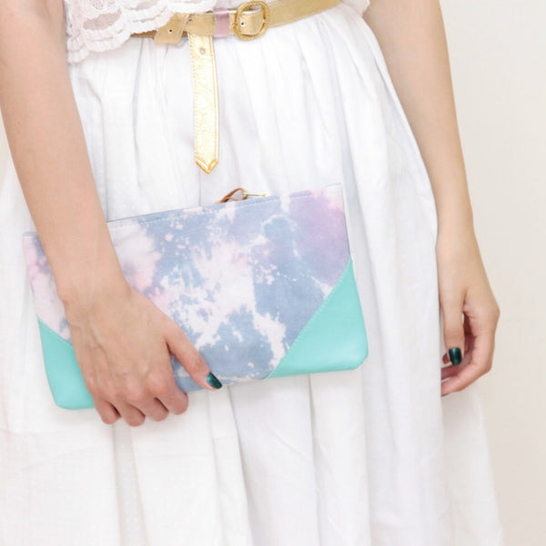 Watercolor Unique Leather Accents Clutch Pouch