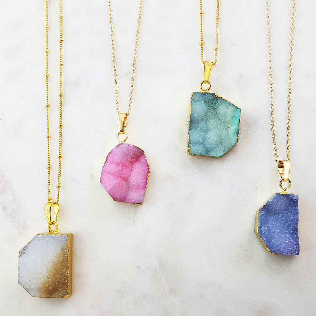 Adore Gemstone Collection - Druzy Odd Shaped Pendant Necklace - Soul Made Boutique