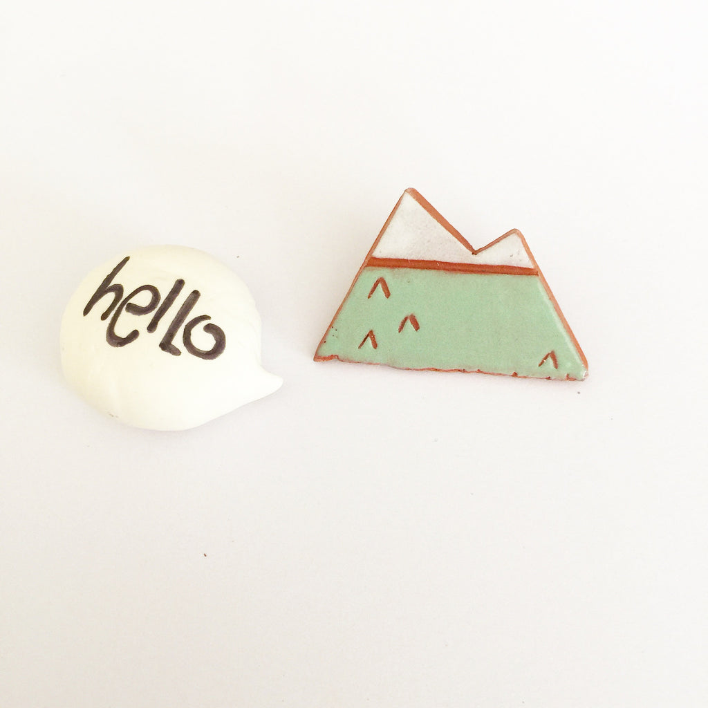 Quirky Fun Collection - Ceramic Mountain Brooch