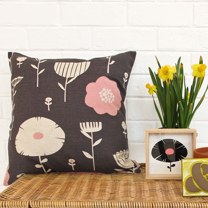 Screen Printed Wild Flowers Cushion Cover