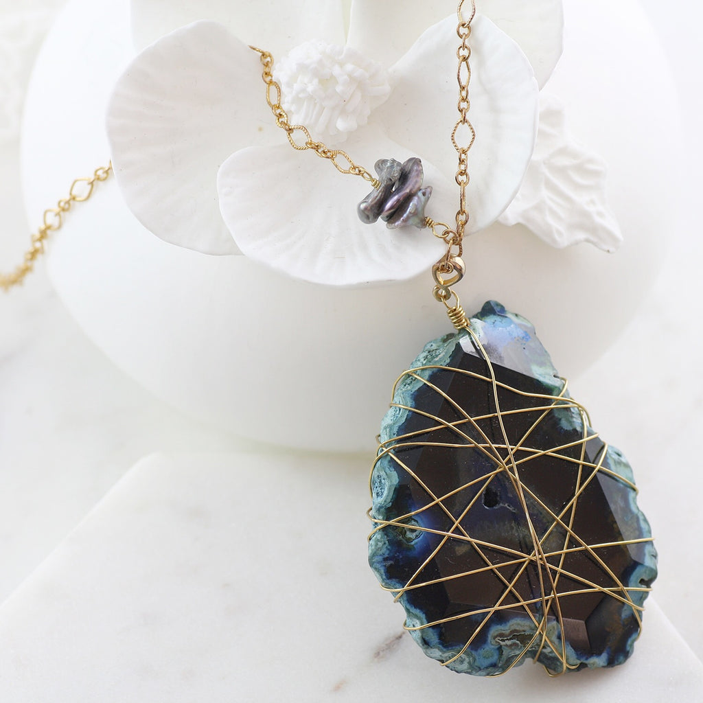Adore Gemstone Collection - Agate Wire Wrapped Necklace - Soul Made Boutique