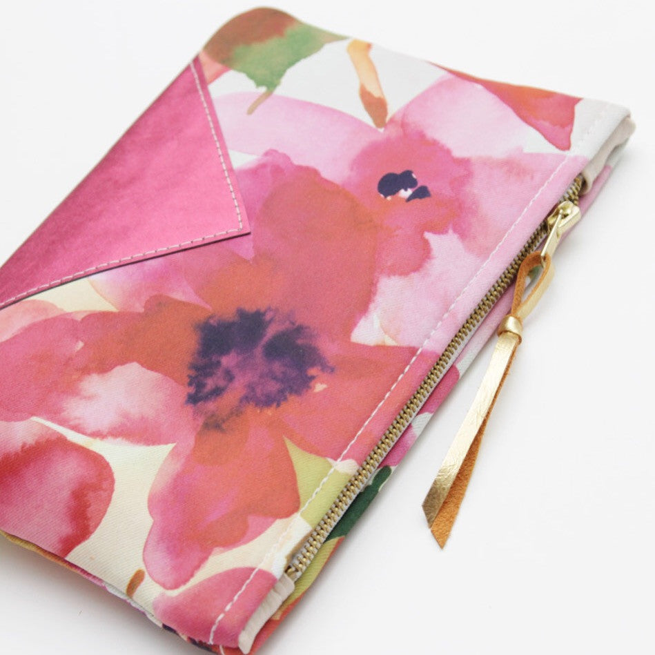 Floral Watercolor Unique Leather Accents Pouch - Soul Made Boutique