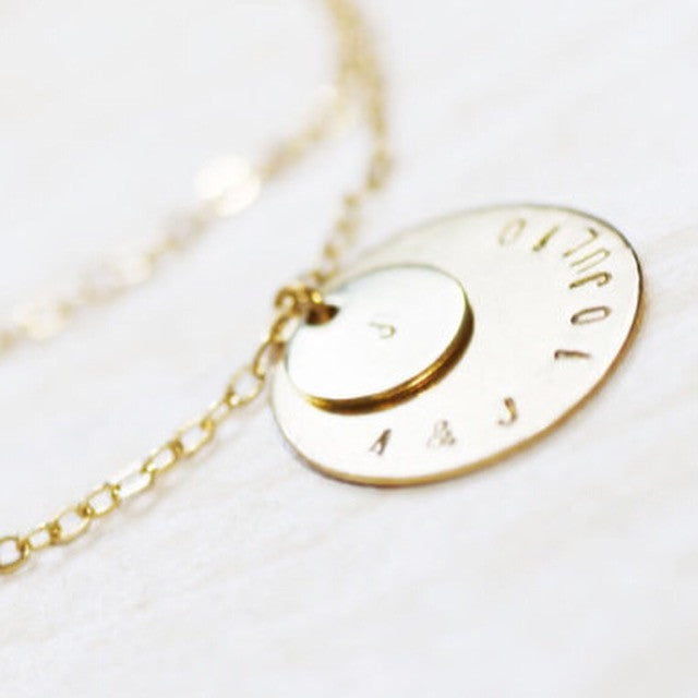 Amor Personalised Collection - Bracelet Layered Stacked Discs - Soul Made Boutique