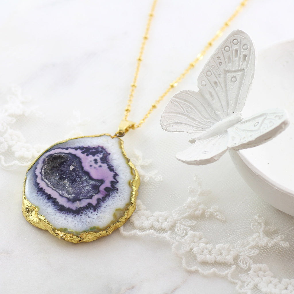 Adore Gemstone Collection - Agate Slice Necklace