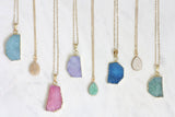 Adore Gemstone Collection - Druzy Round Necklace - Soul Made Boutique