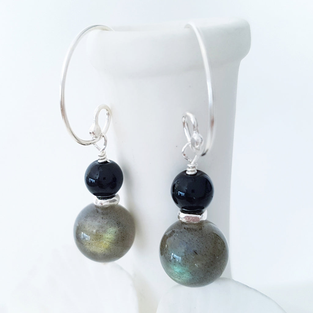 Adore Gems Collection - Sterling Silver Earrings Black Obsidian Labradorite