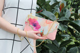 Floral Watercolor Leather Accents Sling Bag