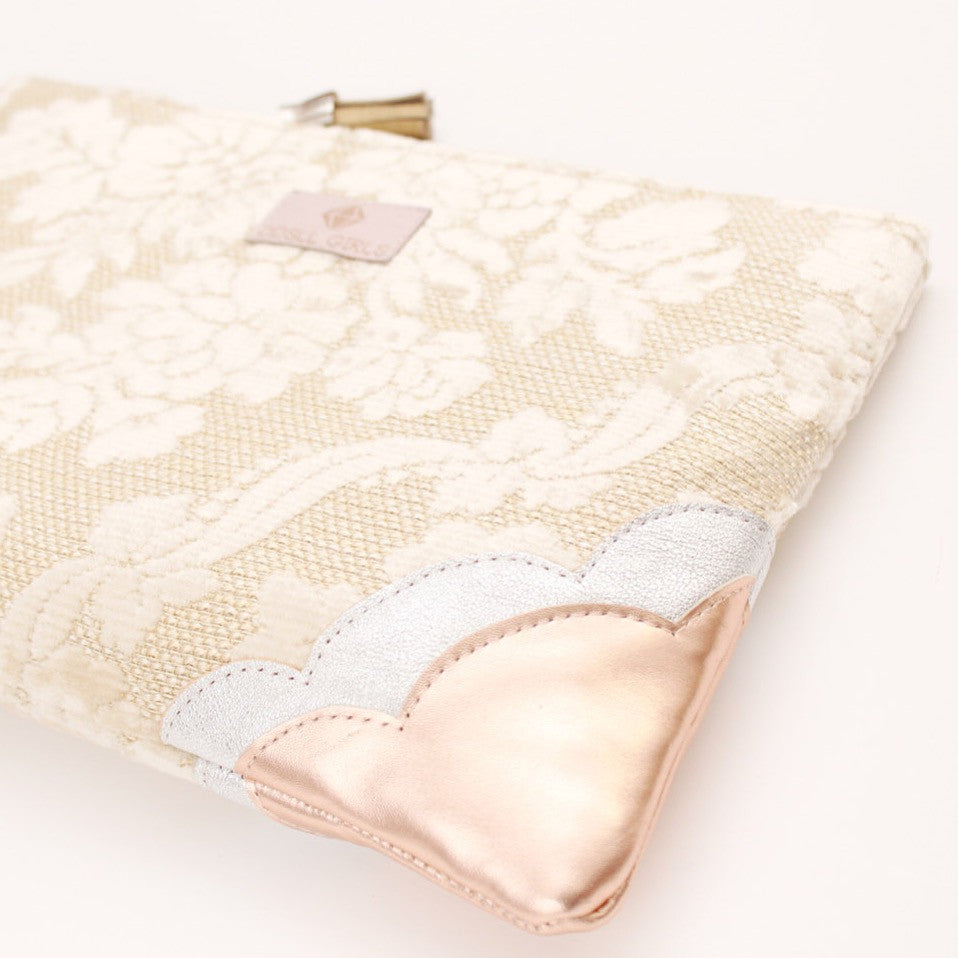 Floral Lace Unique Leather Accents Clutch - Soul Made Boutique