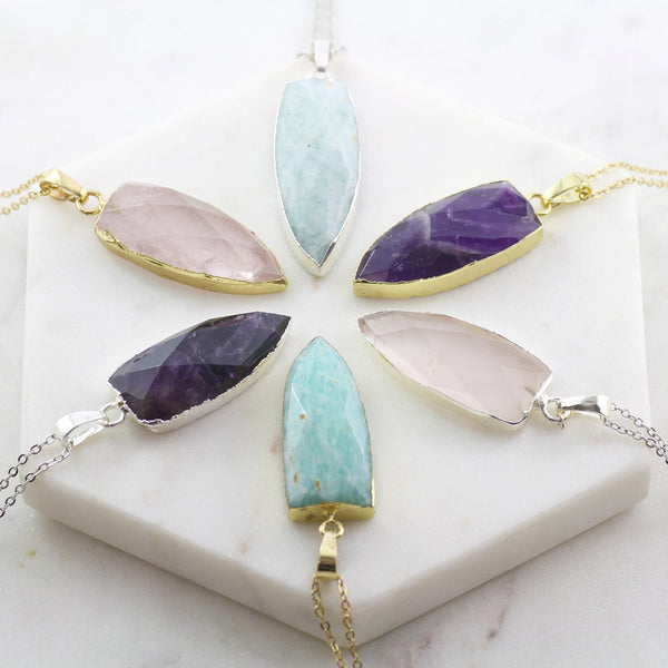Adore Gemstone Collection - Amazonite Flat Pointed Necklace - Soul Made Boutique
