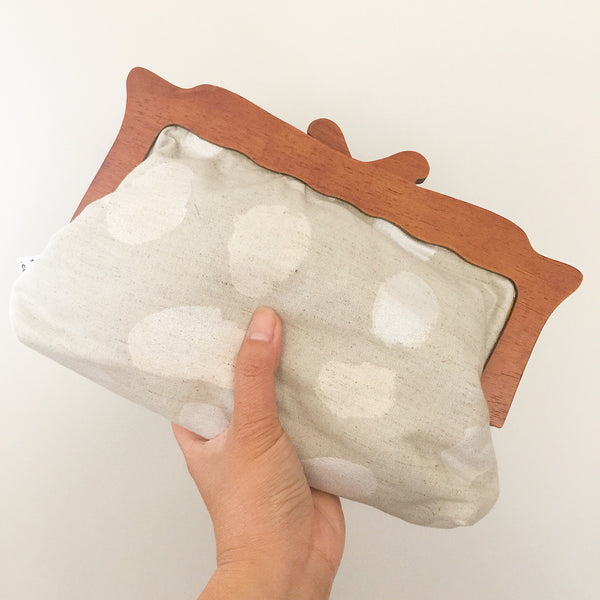 Wooden Handle Abstract Polka Dots Clutch