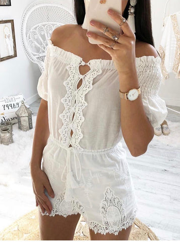 Boho white playsuit | Havetolove fashion boutique