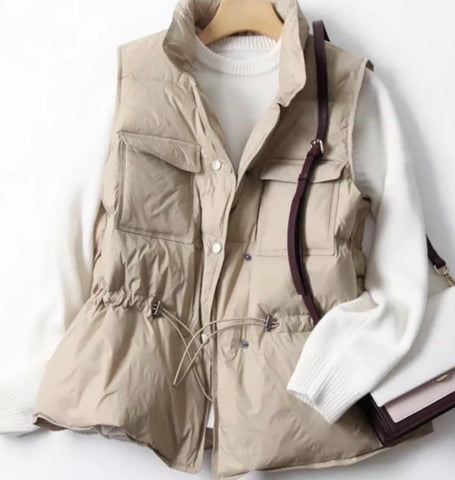 Windproof down filled jacket