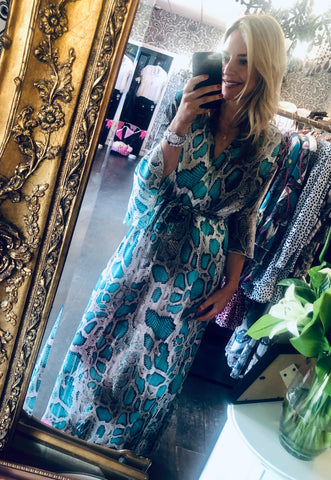 Turquoise snake print maxi dress Havetolove fashion online