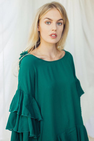 emerald green ruffle top