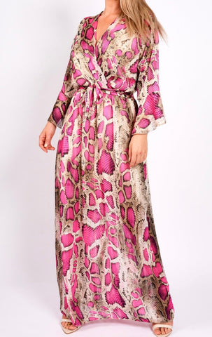 pink snake print maxi dress | Havetolove fashion boutique online