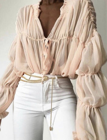 Drape blush blouse Havetolove Fashion Boutique