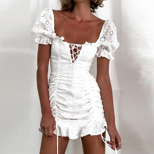 Women's White Broderie Anglaise Mini Dress-Havetolove.com