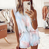 Women's Tie Dye Short Sleeve Loungewear Set