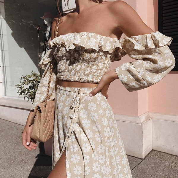 -Women's Off Shoulder Two Piece Floral Skirt and Top - Beige-Havetolove.com
