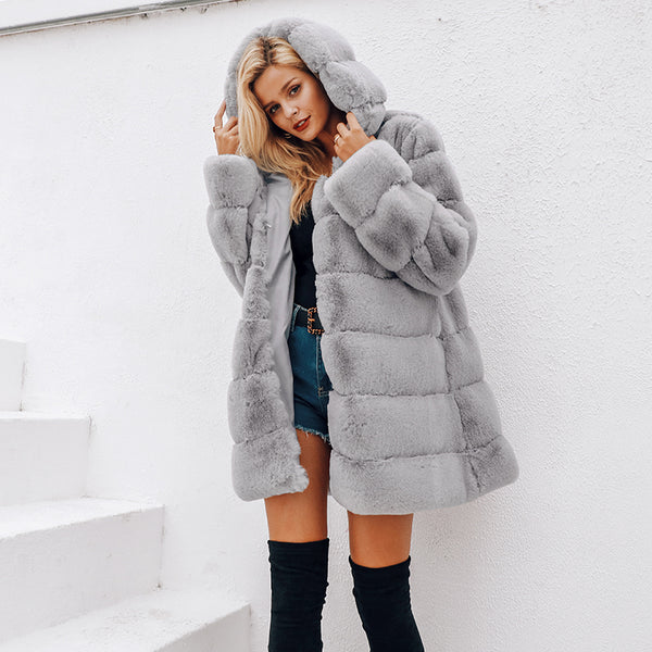 Women's Faux Fur Grey Hooded Coat-Havetolove.com