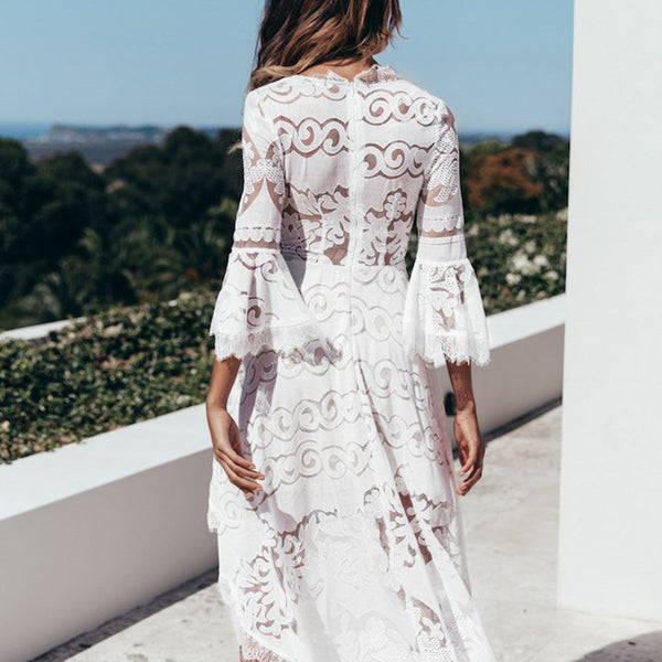 Women's Lace White Midi Dress-Havetolove.com