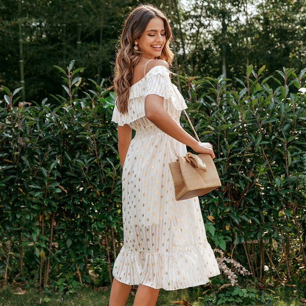 Women's White Off The Shoulder Polka Dot Midi Dress-Havetolove.com