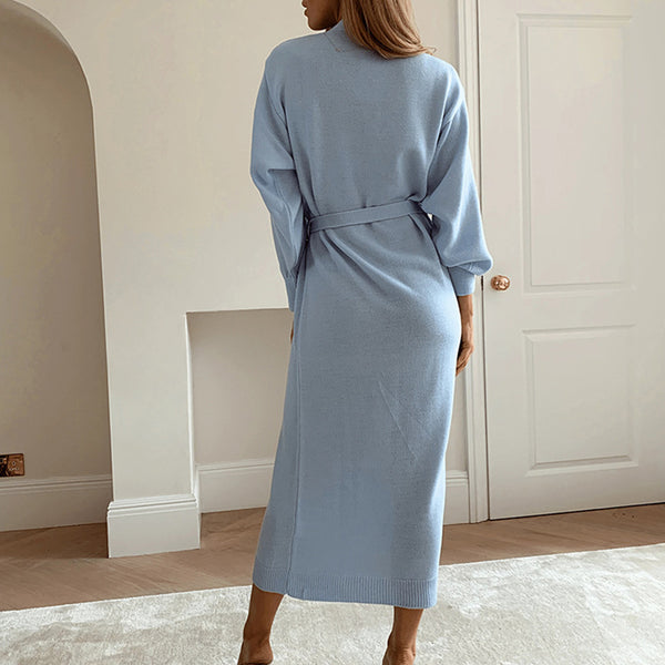 Women's V Neck Wrap Knitted Dress-Havetolove.com