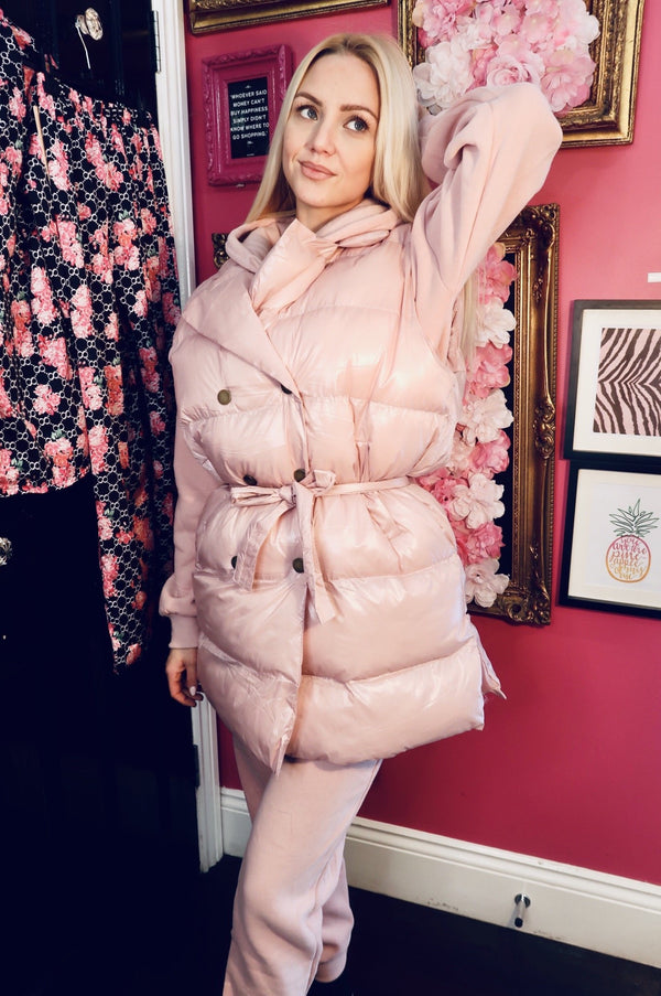 Three Piece Gilet and Loungewear Set - Pink-Havetolove.com