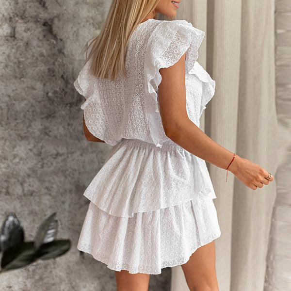 Sleeveless White Lace Mini Dress - Havetolove.com