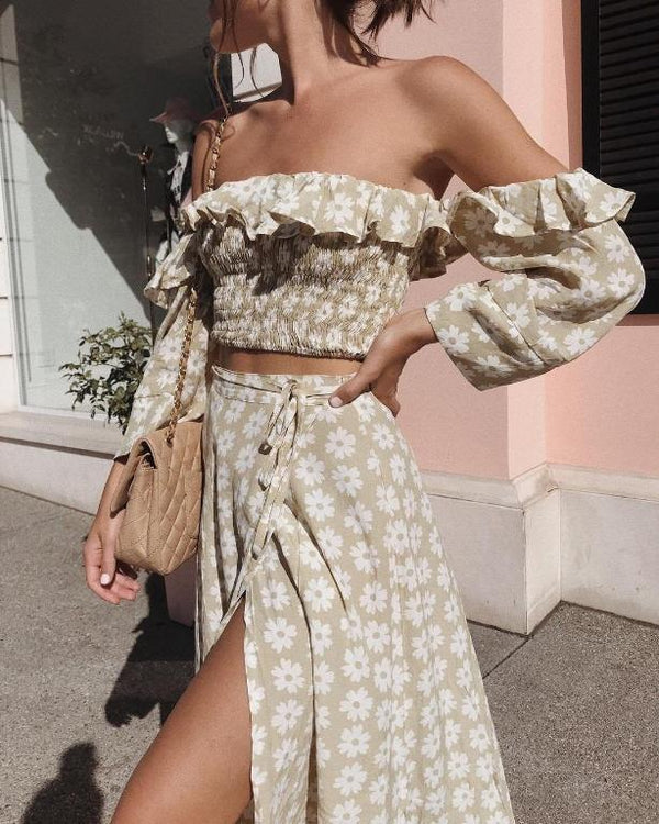 S-Yellow-Women's Off Shoulder Two Piece Floral Skirt and Top - Beige-Havetolove.com