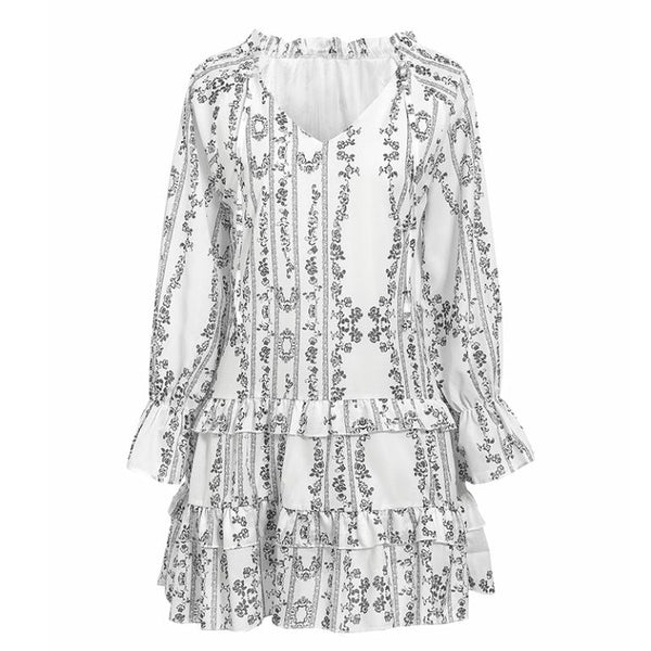 -Long Sleeve Print Ruffle Mini Dress - white-Havetolove.com