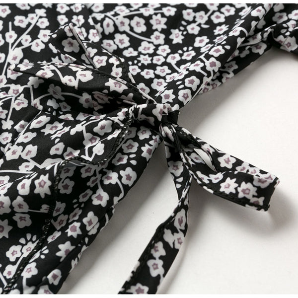 -Womens' Floral Print Wrap Dress - Black-Havetolove.com