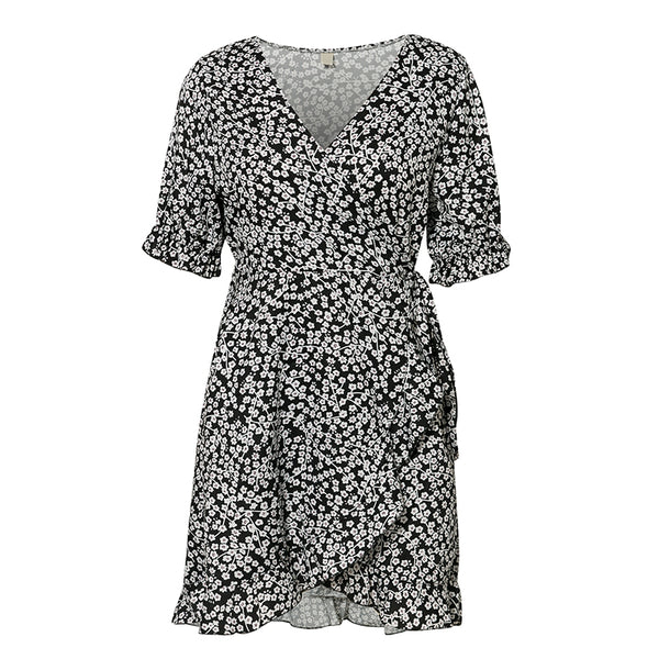 S-Black-Womens' Floral Print Wrap Dress - Black-Havetolove.com