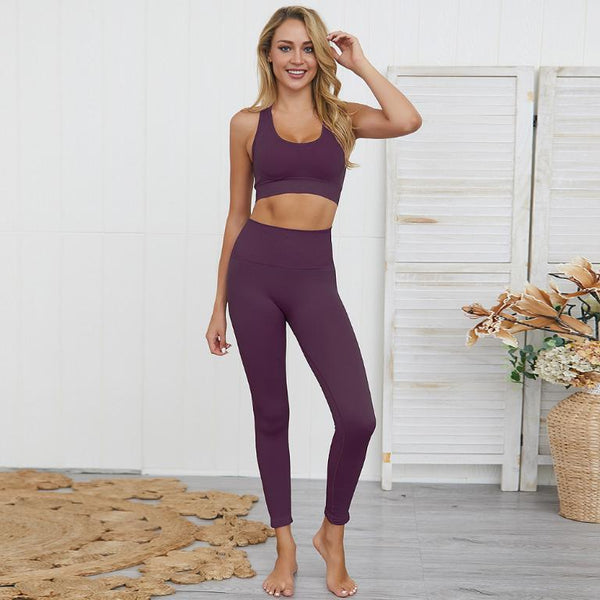 S-Fuchsia-Women's Seamless Gym Set - Various Colours-Havetolove.com