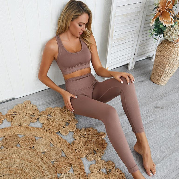 S-Khaki-Women's Seamless Gym Set - Various Colours-Havetolove.com