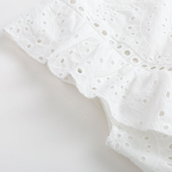 Women's Broderie Anglaise Top - White-Havetolove.com
